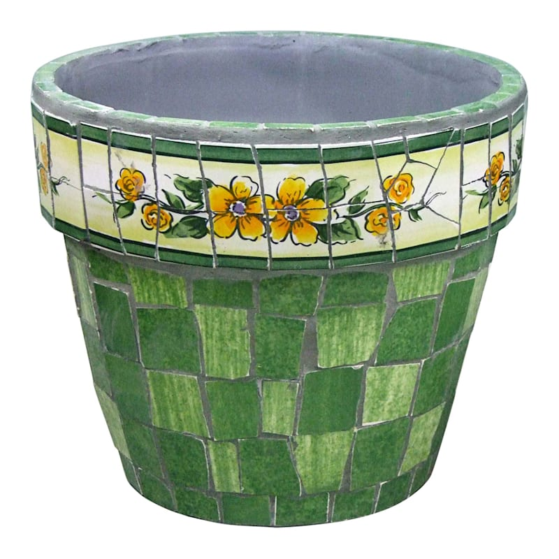10IN GREEN MOSAIC POT-LG