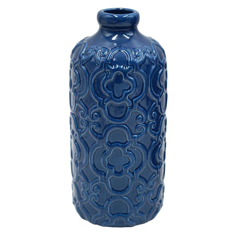8in. Blue Ceramic Vase