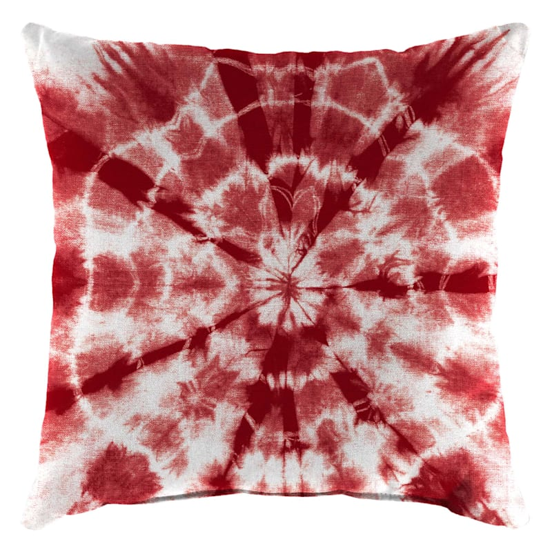 Shibori Motif Pillow, Red