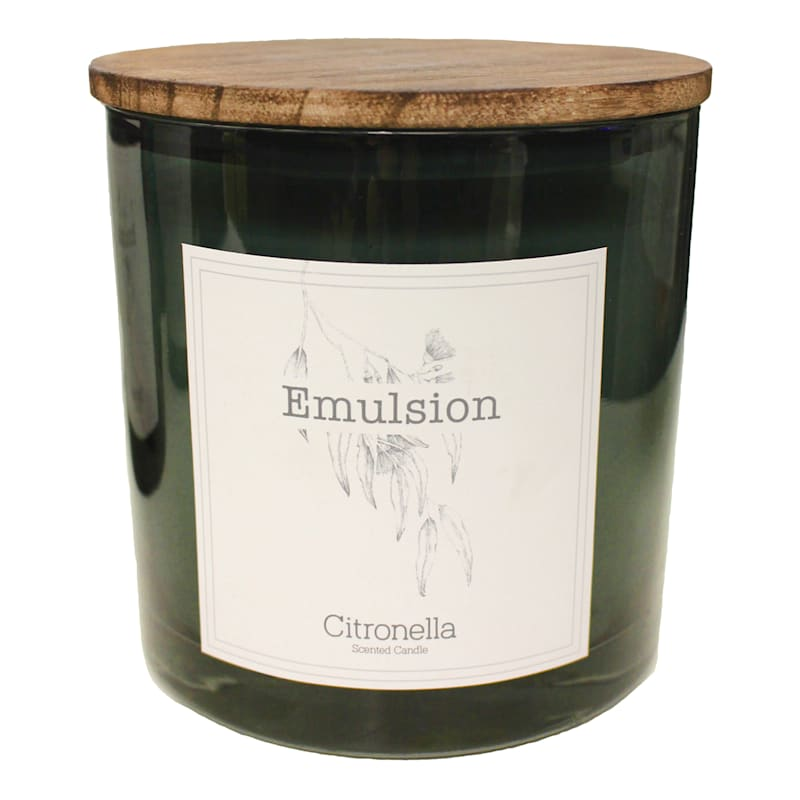 GLASS CITRONELLA WITH WOOD LID