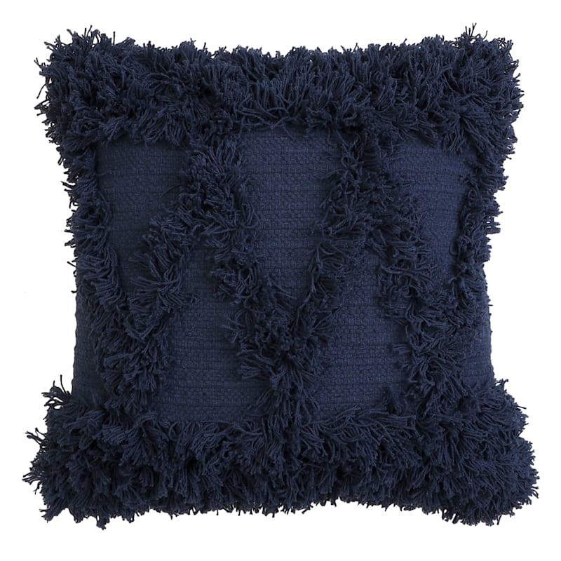 Alfie Fringe Pillow Dark Blue