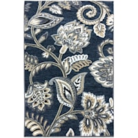 Arrington Floral Chenille High/Low Textured Accent Rug Navy Floral, 2x4