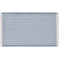 Brooklyn Hand Woven Teal White Accent Rug With Fringe, 2x4