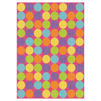 (D103) Gloucester Gumdrop Pink Printed Area Rug With Non-Slip Back, 5x7