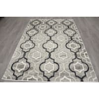 (B281) Grey & Black Trellis Design, 5x7