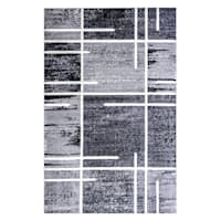 (B324) Gray Abstract Square Area Rug, 5x7