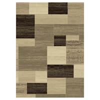 (B446) Romance Tan & Brown Blocks Area Rug, 5x7
