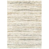 (C99) Shag Multi Color Abstract Design Ivory Area Rug, 8x10