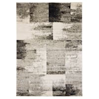 (B501) Ivory & Grey Faded Abstract Block Design Rug, 8x10