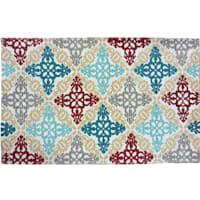 Moroccan Tile Multi Color Printed Cotton Accent Rug, 2x4