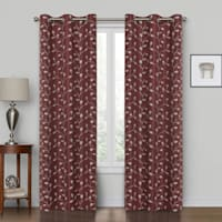 """Rockwell Burgundy Embroidered Blackout Grommet Window Panel, 84"""""""