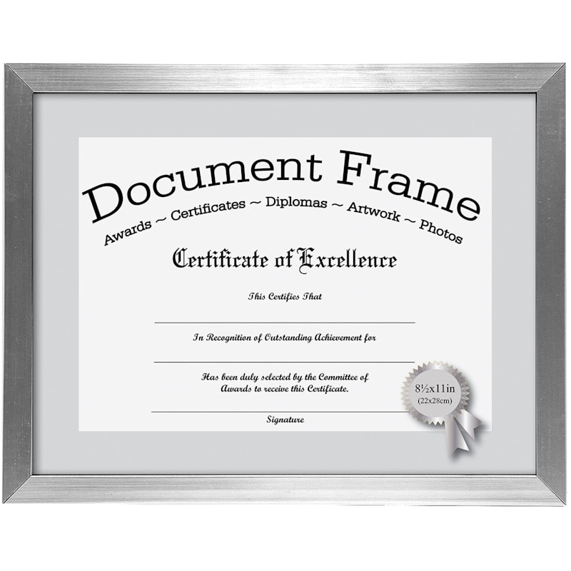 11X8.5 Silver Document Frame