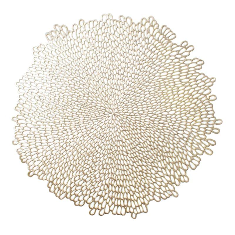 Bloom Vinyl Round Gold Placemat