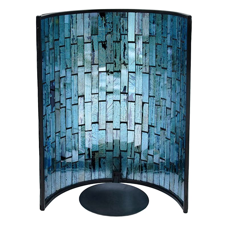 10in. Metal Wall Sconce With Blue Tiled Mosaic Glass