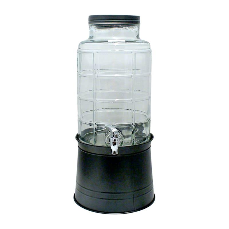 2.4 Gallon Drink Dispenser On Black Galvanized Stand/Matching Black Lid