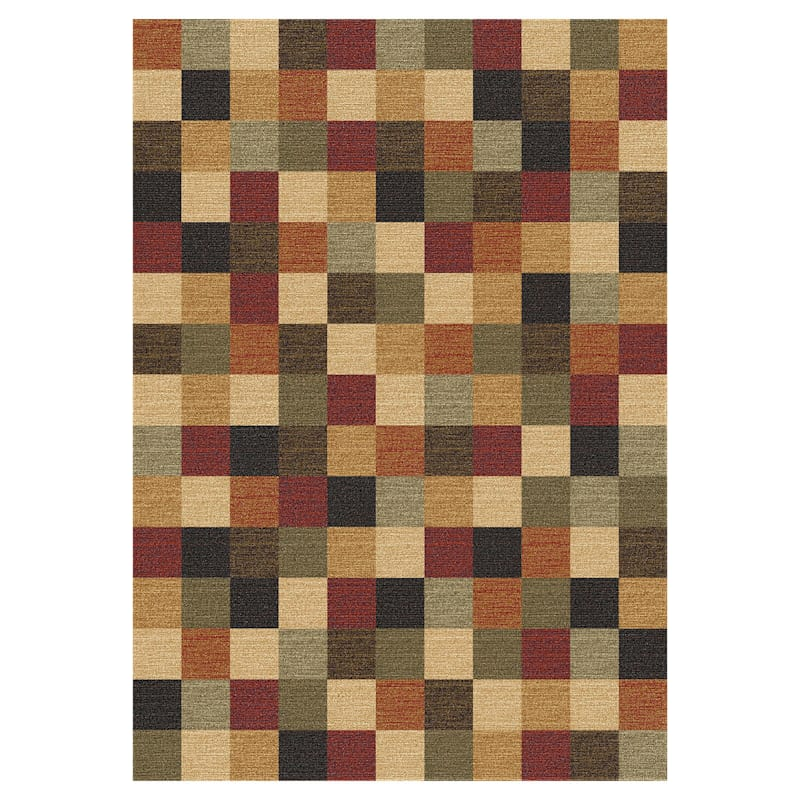 (D114) Nexus Red Printed Area Rug With Non-Slip Back, 5x7