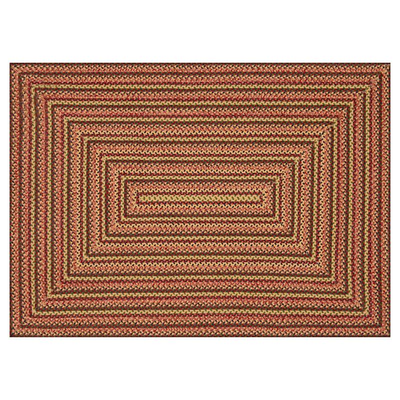 (D71) Lucius Red Multi Braid Area Rug, 8x10
