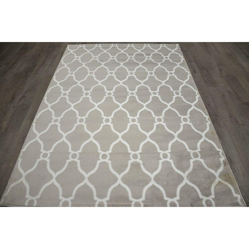 (D47) Grey & White Moroccan Style Design Runner, 2x7