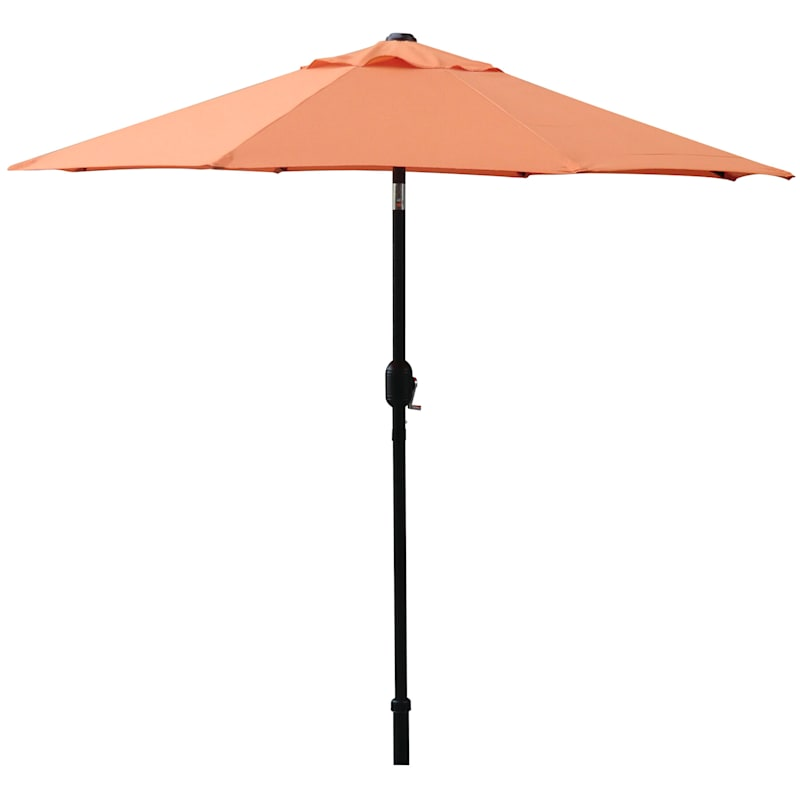 Steel Orange Round Crank And Tilt Outdoor Umbrella, 7.5'