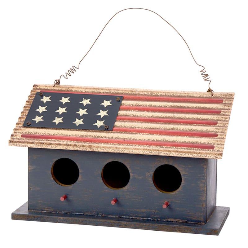 """Patriotic Wood Metal Flag Birdhouse, 12"""""""
