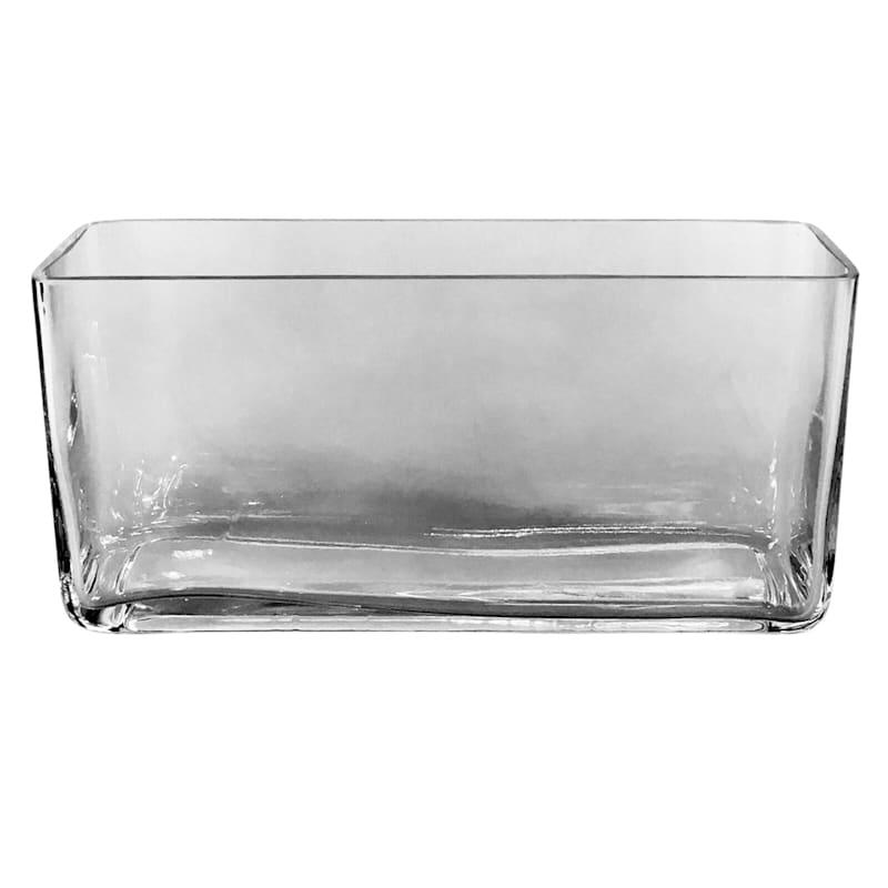 Wide Rectangular Glass Vase