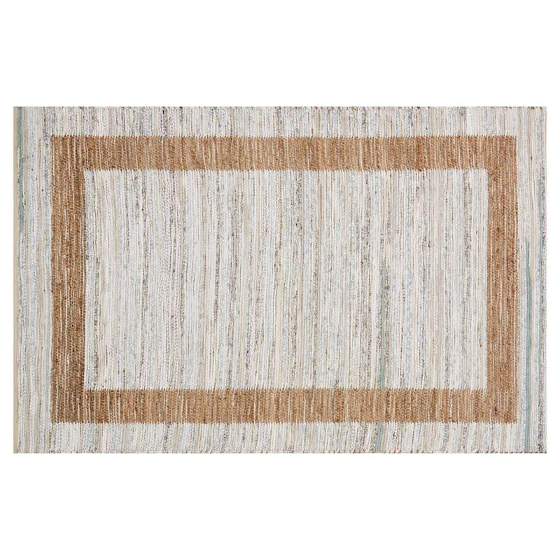 (B312) Henning Hand Woven Cotton & Jute Ivory Chindi Area Rug, 5x7