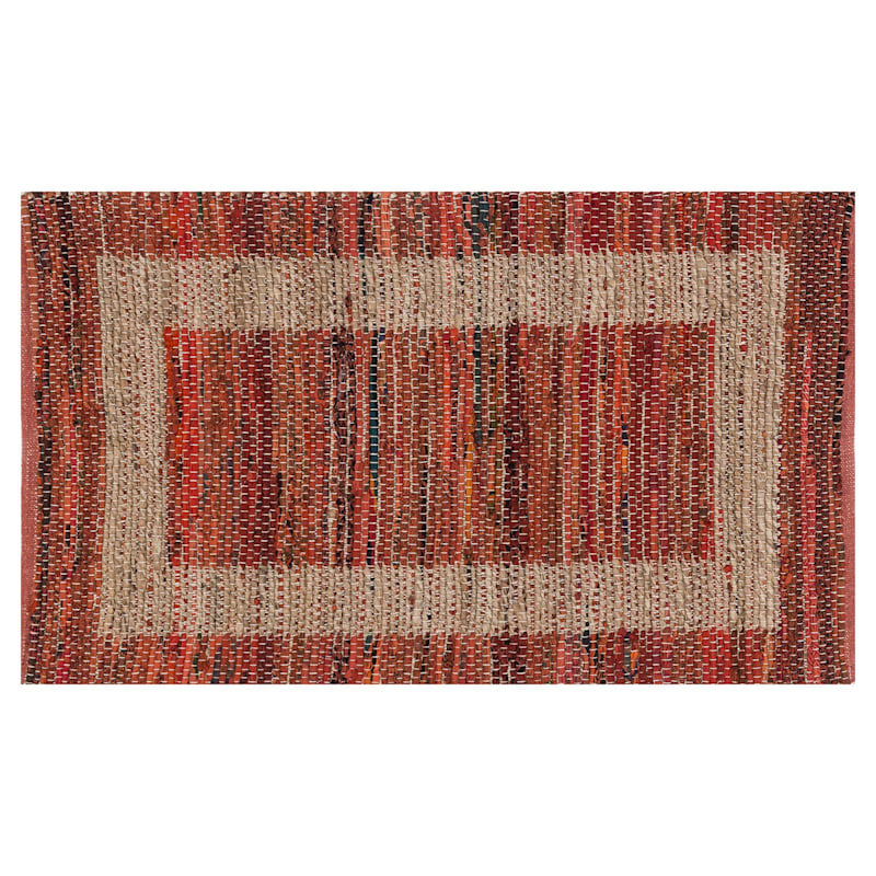 (B314) Henning Hand Woven Cotton Blend Red Chindi Area Rug, 3x5