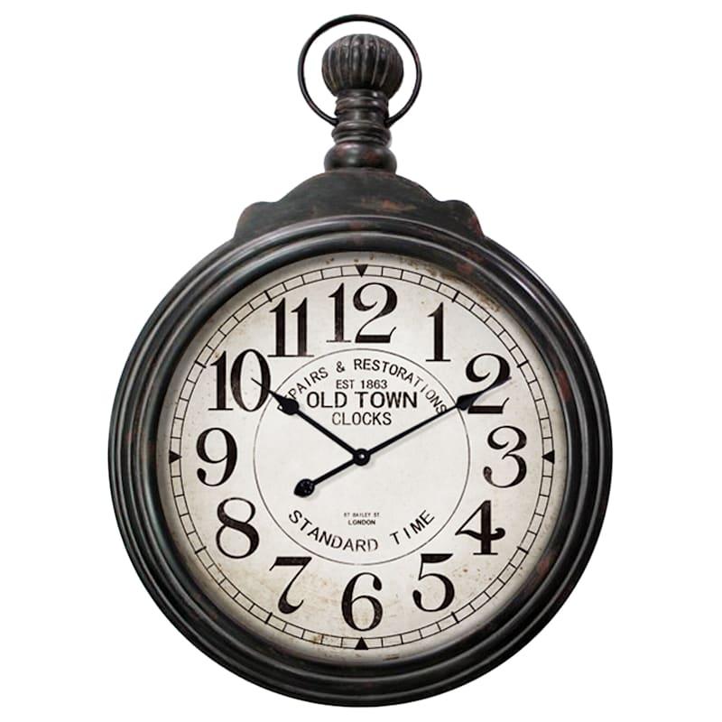 28X38In Black/White Wood Clock