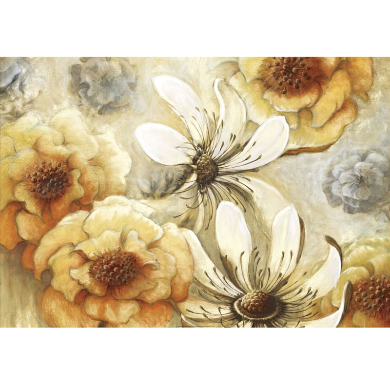 24X36 Gold White And Grey Floral Canvas Wall Art