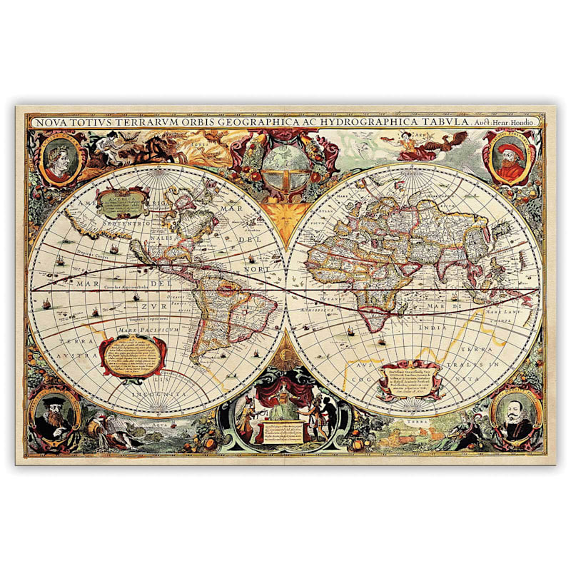 24X36 Old World Map Canvas Wall Art