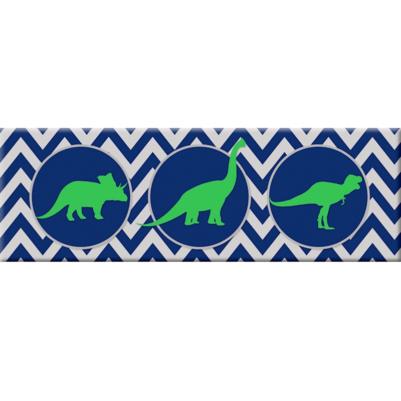 12X36 Green Dinosaurs With Blue/White Zig Zags Canvas Wall Art
