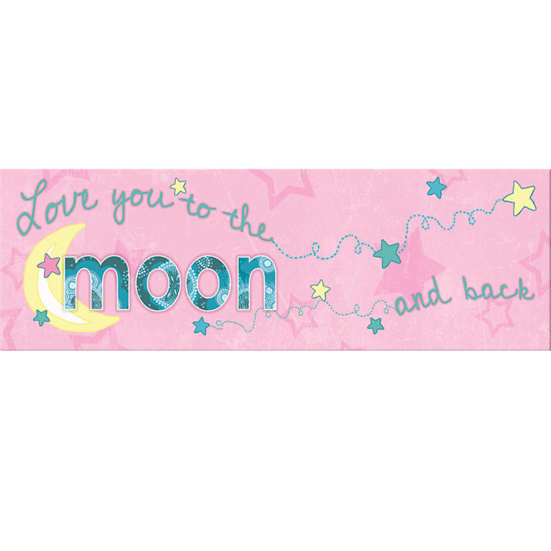 12X36 Pink Love You To The Moon And Back Canvas Wall Art