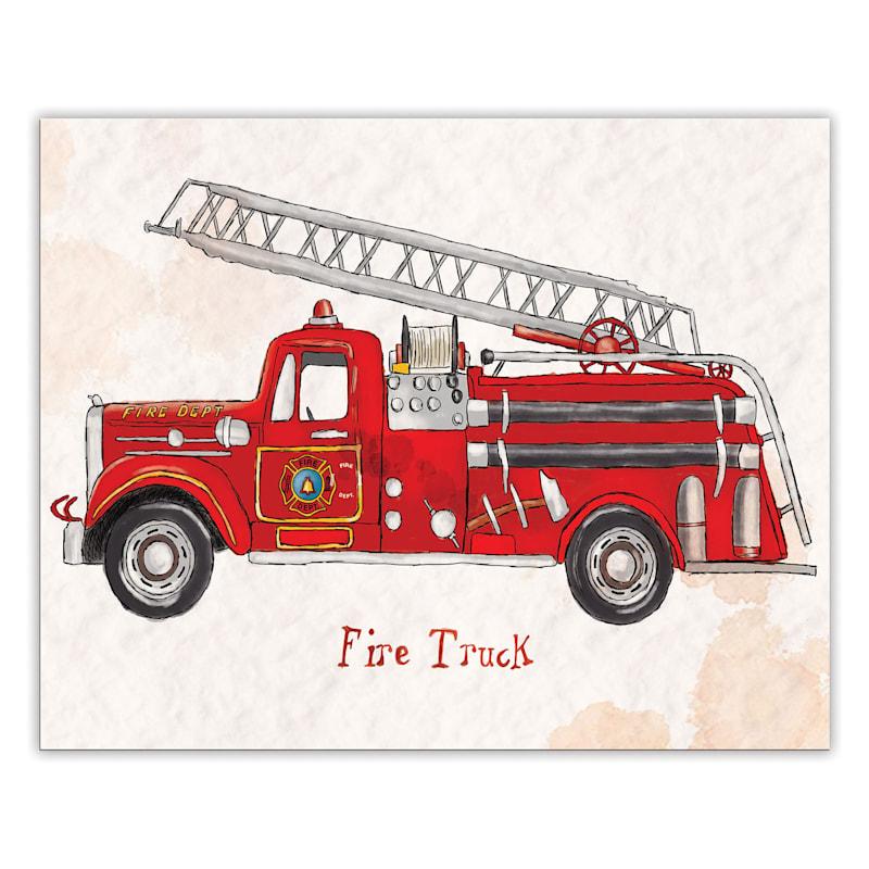 20X16 Red Firetruck Canvas Wall Art