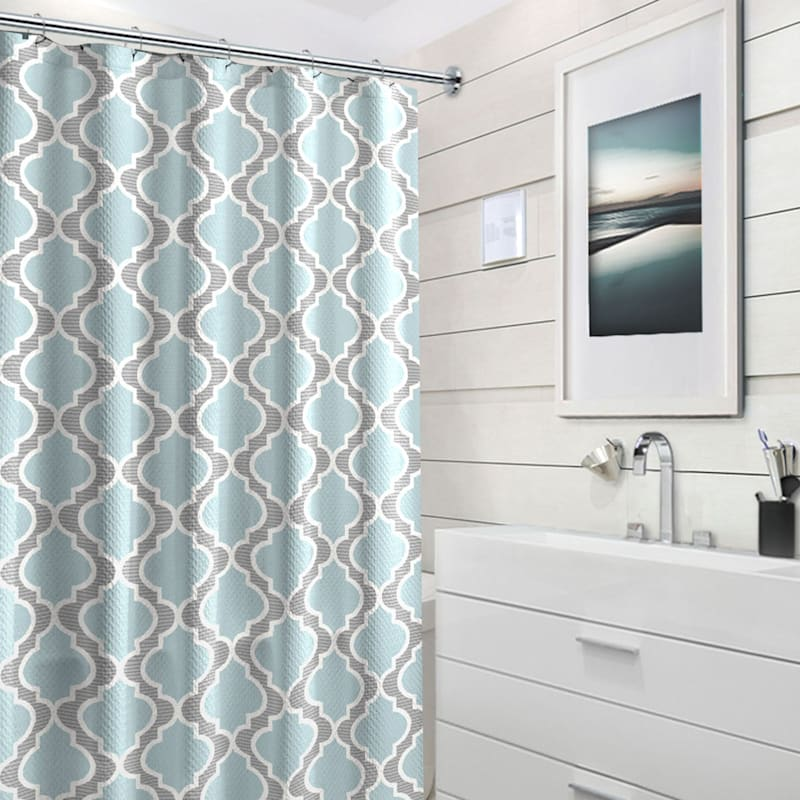 Benson Blue 13-Piece Printed Shower Curtain With Hooks Set