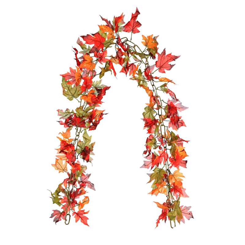 6FT Maple Leaves Chain Garland - Brown, Orange, Green
