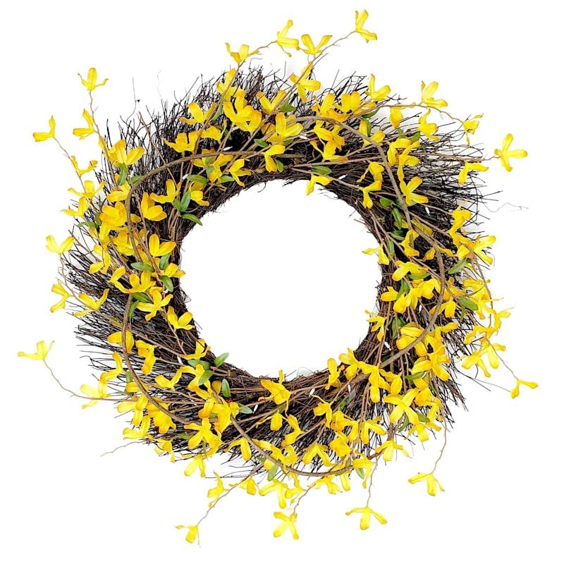 "Forsythia Spiral Wreath, 24"""