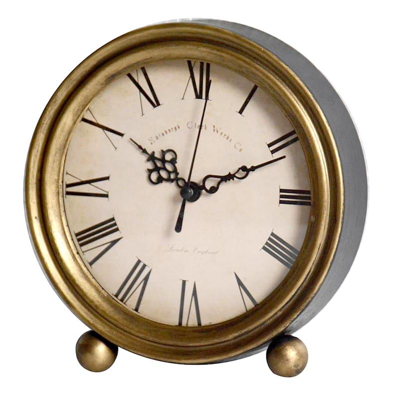 6X7 Metal Gold Round Clock