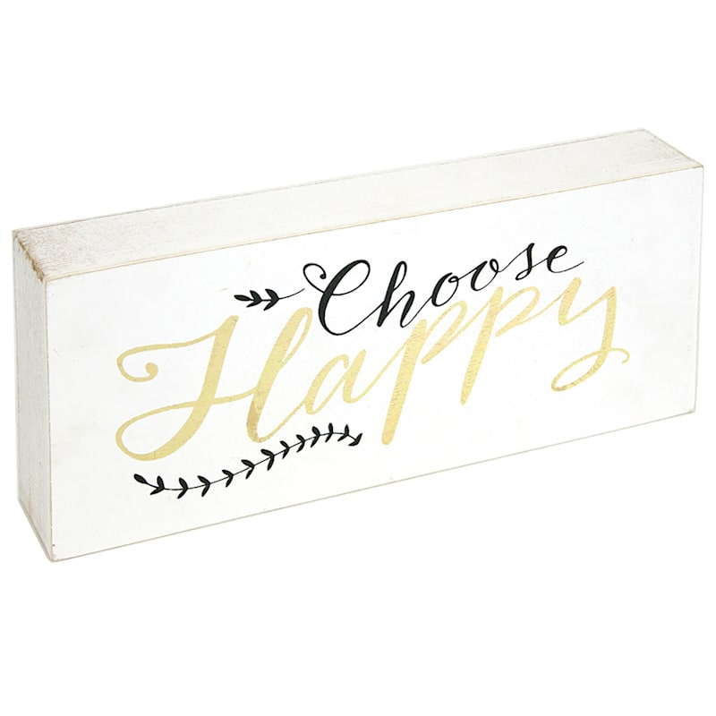 10X4 Choose Happy Tabletop Wood Block