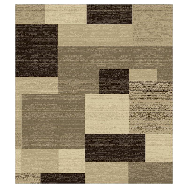 (B446) Romance Tan & Brown Blocks Area Rug, 7x10