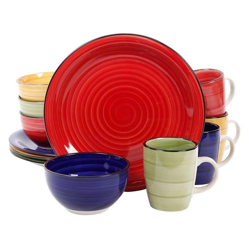 Color Vibes 12-Piece Dinnerware Set 4 Assorted Colors Stoneware