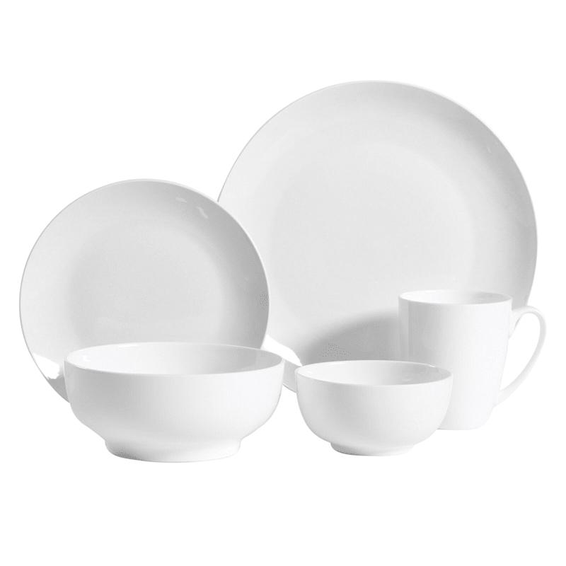 Ogalla 30-Piece Dinnerware Set White Fine Ceramic