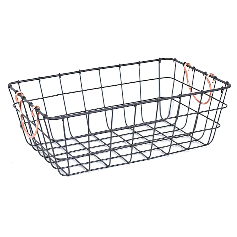 Low Rectangle Wire Basket Bronze
