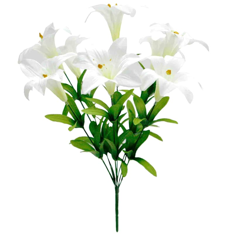 White Polyester Lily Bush- 18-in