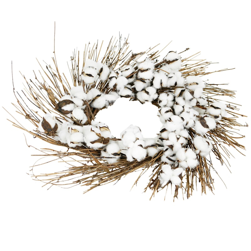 Polyester White Puff Wreath
