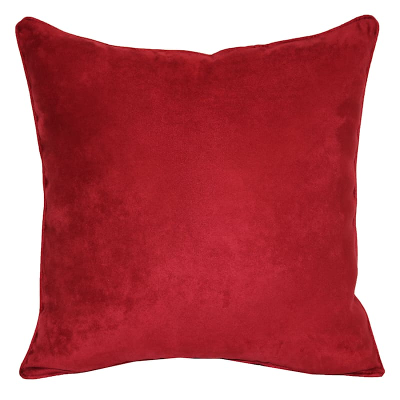 Rio Red Heavy Faux Suede Throw Pillow, 18x18