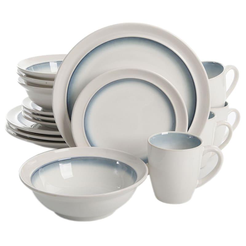 GE Lawson 16-Piece Dinnerware Set Teal Reactive Stoneware