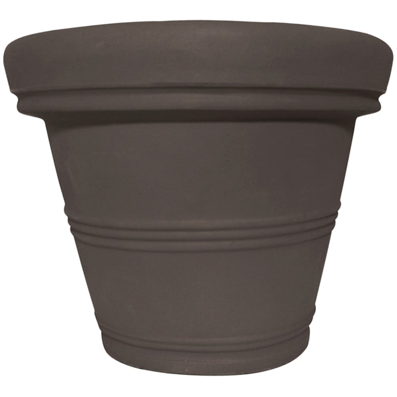 24X31 All Weather Proof Polyresin Round Basic Rim Planter Coffee
