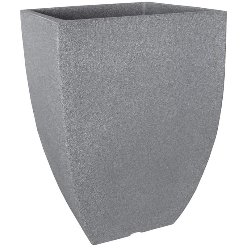 21X14.5 All Weather Proof Polyresin Modern Square Planter Charcoal