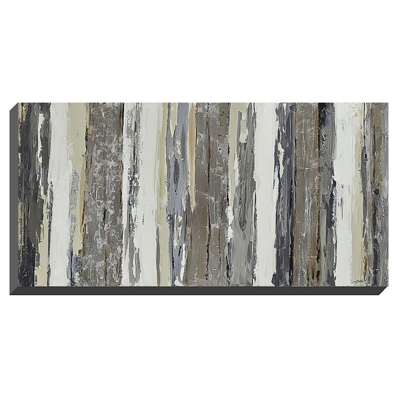 28X56 Silver Stripes Enhanced Canvas
