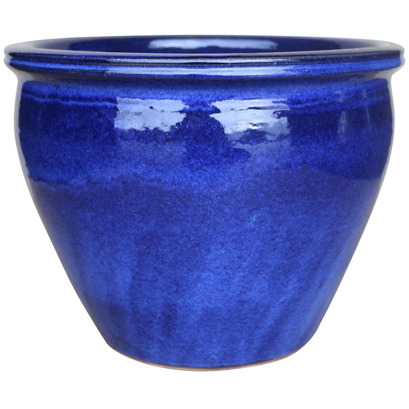 Velvet Ceramic Planter 15in. Imperial Blue